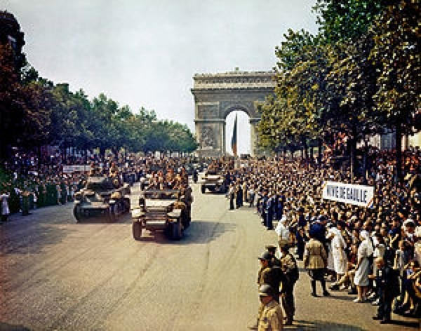 Crowds Of French Patriots line The Champs Elysees Edit2