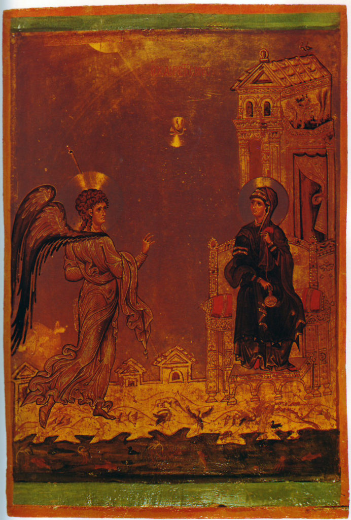 Mary's Annunciation, late Komnenos icon from the end of the 12th century